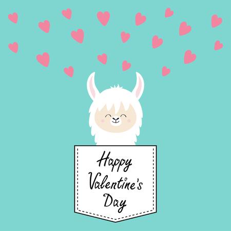 Happy Valentines Day. Alpaca llama face sitting in the pocket. T-shirt design. Cute cartoon funny character. Kawaii animal. Pink hearts. Love greeting card. Flat design. Blue background. Vector Çizim