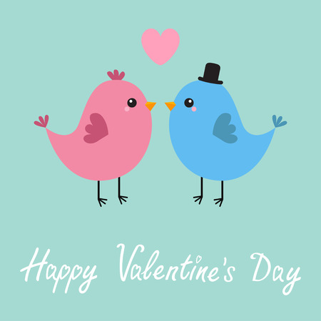 Two bird couple. Pink heart. Happy Valentines Day. Love Greeting card. Boy, girl. Black hat. Cute cartoon kawaii baby character. Flat design Blue background Vector illustration Illustration