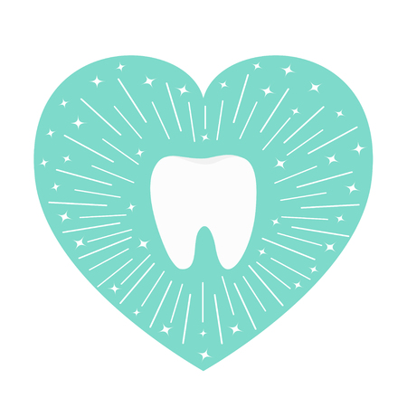 Healthy tooth icon. Heart shape. Round line circle. Oral dental hygiene. Children teeth care. Shining effect stars. Blue background. Isolated. Flat design. Vector illustration