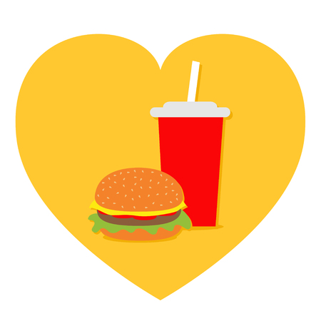 Burger. Soda drink glass with straw Icon set. Heart shape. I love Movie Cinema. Fast food menu. Flat design. White background. Isolated. Vector illustration