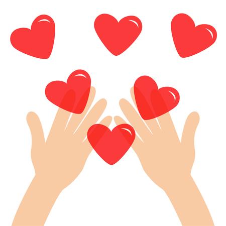 Bras de mains tenant un ensemble de signes en forme de coeur brillant rouge. Gros plan sur une partie du corps. Joyeuse saint Valentin. Carte de voeux. Concept de cadeau d'âme d'amour Style design plat. Fond blanc. Isolé. Illustration vectorielle