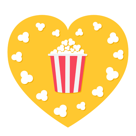 Popcorn popping. Red yellow strip box. Heart shape. I love movie cinema night icon in flat design style. White background. Isolated. Vector illustration