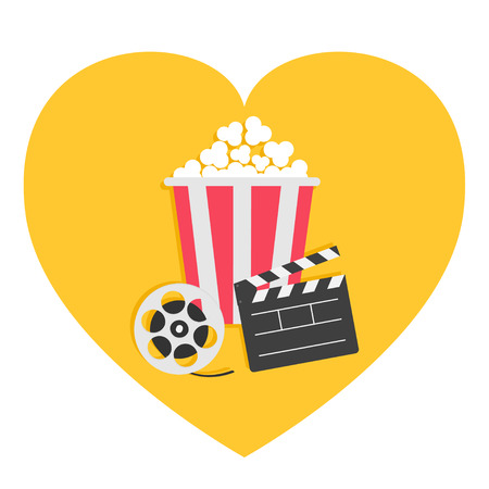 Open clapper board Movie reel Popcorn Cinema icon set. Heart shape. I love movie. Flat design style. White background. Isolated. Vector illustration