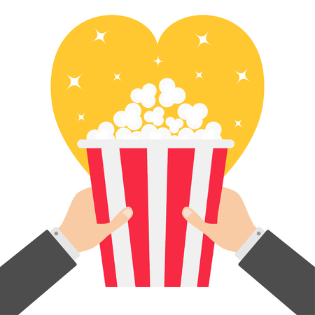 Two human businessman hands holding popcorn box. Heart shape. I love Movie Cinema icon in flat design style. Pop corn. Yellow background. Shining stars. Vector illustration