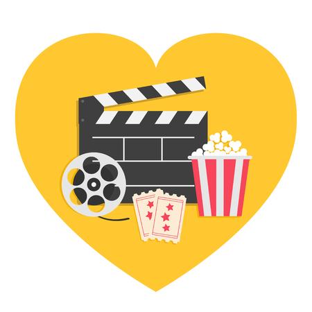 Big movie reel Open clapper board Popcorn box package Ticket Admit one. Three star. Heart shape. I love cinema icon set. Flat design style. Yellow background. Vector illustration