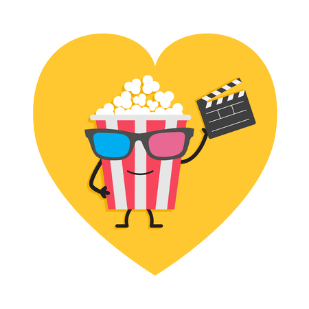 Popcorn box in 3D glasses. Character with face, legs and hand holding clapper board. Heart shape. I love movie cinema icon. Flat design style. Yellow background. Isolated. Vector illustration