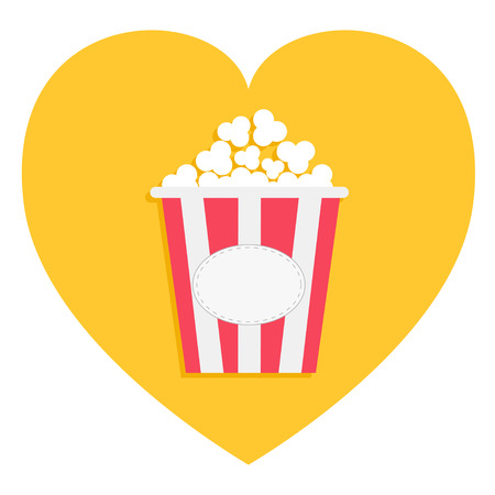 Popcorn box icon. Red yellow strip. Heart shape. I love movie cinema night. Tasty food. Flat design. White background. Isolated. Vector illustration
