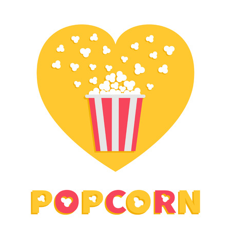 Popcorn popping. Red yellow strip box package. Heart shape. I love cinema movie night icon Flat design style. Fast food. Yellow background Red white text. Vector illustration Illustration