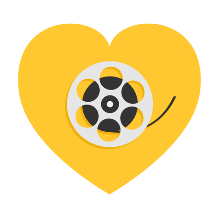 Film movie reel. Heart shape. I love cinema icon. Flat design style. Yellow background. Isolated. Vector illustration