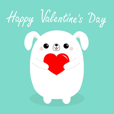 Happy Valentines Day. White baby dog puppy head face holding red heart. Cute cartoon kawaii funny animal character. Love card. Flat design. Isolated. Blue background. Vector illustration