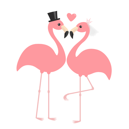 Pink flamingo set. Wedding couple. Exotic tropical bird. Black hat, veil, heart. Bride and groom. Happy Valentines Day. Cute cartoon character. Zoo animal. Flat design. White background Vector Illustration