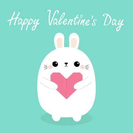 Happy Valentines Day. White baby rabbit hare puppy head face holding pink origami paper heart. Cute cartoon kawaii funny animal character. Love card. Flat design. Isolated. Blue background. Vector