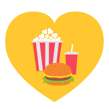 Popcorn. Burger. Soda drink glass with straw. Heart shape. I love Movie Cinema icon set. Fast food menu. Flat design. White background. Isolated. Vector illustration