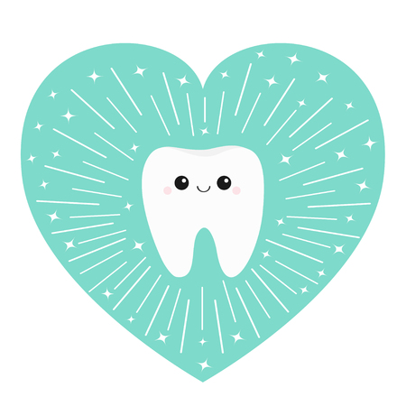 Healthy tooth heart icon. Smiling face. Round line circle. Oral dental hygiene. Children teeth care. Cute love character. Shining effect stars. Blue background. Isolated. Flat design. Vector