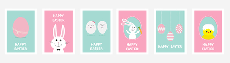 Happy Easter greeting card set line. Hanging painted egg on dash lin, bunny rabbit hare carrot. Chicken bird with shell. Blue Pink pastel color background. Baby characters. Flat design. Vector