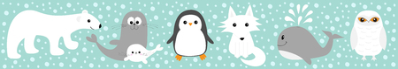 Arctic polar animal set line. White bear, owl, penguin, Seal pup baby harp sea lion fox wolf whale albatross seagall Kids education cards Cute cartoon character Blue snow background Flat design Vector Ilustrace