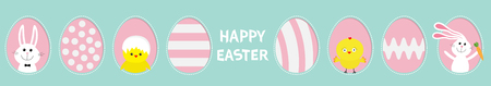 Happy Easter text. Painted pattern egg frame set line. Bunny rabbit hare holding carrot. Chicken bird with shell. Dash line contour. Greeting card. Blue pastel color background. Flat design. Vector Illustration