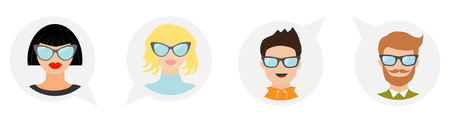 Avatar people icon set line. Cute cartoon character. Diverse face collection. Men women wearing eyeglasses. Male female head with sunglasses Speech bubble Flat White background Isolated Vector