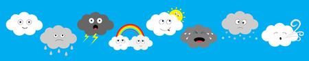 Línea de conjunto de iconos de emoción emoji de nube oscura blanca. Nubes esponjosas. Sol, arco iris, gota de lluvia, viento, rayo, tormenta, relámpago. Cute dibujos animados kawaii cloudscape Diseño plano Fondo de cielo azul Vector aislado