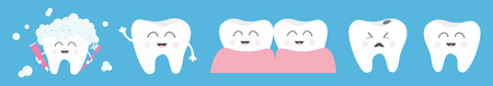 Healthy smiling white tooth icon set line. Crying bad ill teeth. Toothbrush toothpaste bubble foam. Before after concept. Cute character set. Oral dental hygiene. Baby background. Flat design. Vector Ilustração