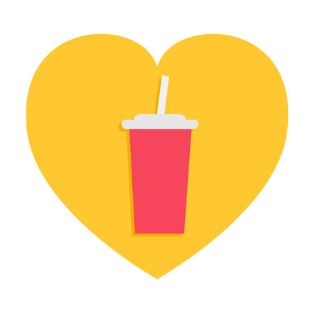 Soda drink glass with straw. Fast food menu. Heart shape. I love movie cinema. Flat design. Yellow background. Isolated. Vector illustration