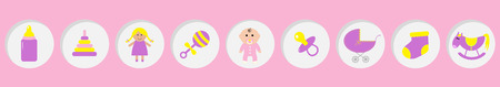 Baby girl shower card. Its a girl. Bottle, horse, rattle, pacifier, sock, doll, baby carriage pyramid toy. Round icon set line. Isolated. Pink background Flat design Vector illustration Stock Illustratie