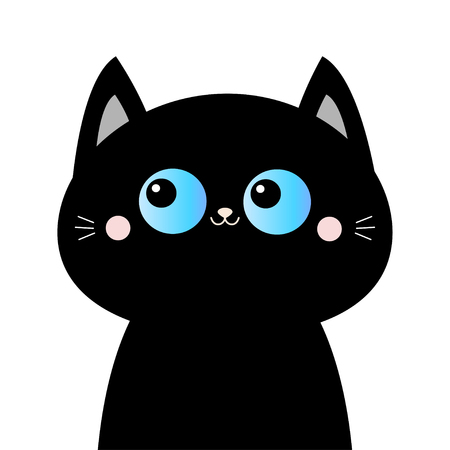 Black cat head face silhouette. Blue eyes. Pink blush cheeks. Funny Kawaii animal. Baby card. Cute cartoon funny character. Pet collection. Flat design. White background. Isolated. Vector illustration Illustration