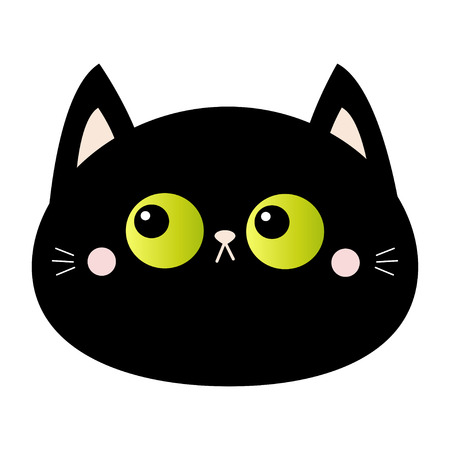 Black cat round head face icon. Green eyes. Pink blush cheeks. Funny Kawaii animal. Cute cartoon funny character. Baby card. Pet collection. Flat design. White background. Isolated. Vector Illustration