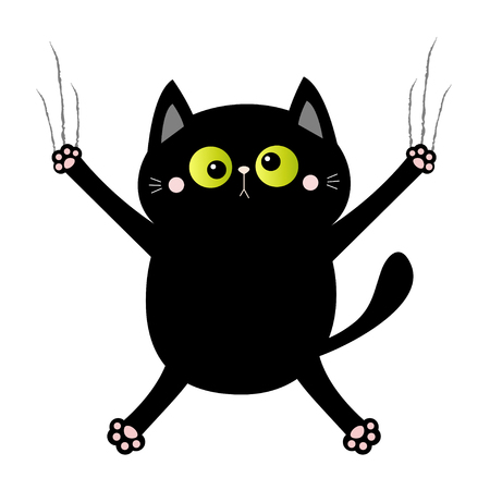 Black cat nail claw scratch. Screaming kitten. Crossed green eye. Cute cartoon kawaii funny character falling down. Excoriation track line. Baby pet collection. White background. Flat design. Vector