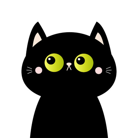 Black cat head face silhouette. Green eyes. Pink blush cheeks. Funny Kawaii animal. Cute cartoon funny character. Baby card. Pet collection. Flat design. White background. Isolated. Vector Çizim