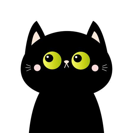 Silueta de cara de cabeza de gato negro. Ojos verdes. Mejillas ruborizadas rosadas. Animal divertido de Kawaii. Personaje divertido de dibujos animados lindo. Tarjeta de bebé. Colección de mascotas. Diseño plano. Fondo blanco. Aislado. Vector Ilustración de vector