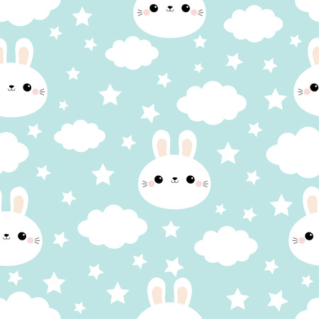 Seamless Pattern. Rabbit bunny hare face. Cloud in the sky. Cute cartoon kawaii funny smiling baby character. Wrapping paper, textile template. Nursery decoration. Blue background. Flat design Vector