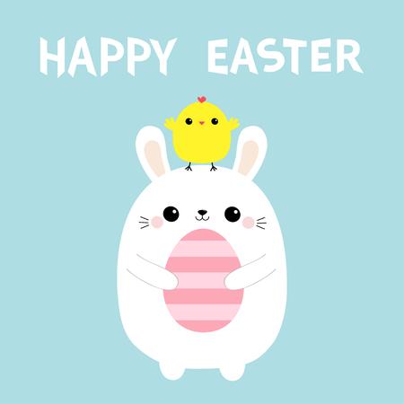 Happy Easter bunny holding painting egg. Chicken on head. Blue pastel background. Flat design. Vektoros illusztráció