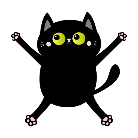 Black cat nail claw scratch. Falling down kitten. Green eye. Cute cartoon kawaii funny character. Excoriation track line shape. Baby pet collection. White background. Flat design. Vector illustration Çizim