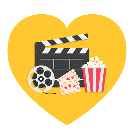 Movie reel Open clapper board Popcorn box package. Ticket Admit one. Three star. Heart shape. I love cinema icon set. Flat design style. Yellow background. Isolated. Vector illustration Ilustração