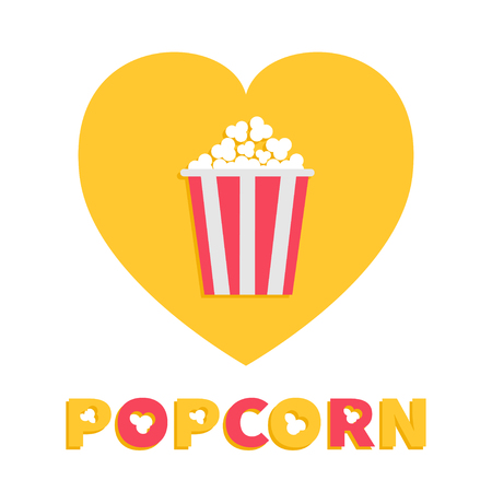 Popcorn. Red yellow strip box package. Heart shape. I love cinema movie night icon Flat design style. Fast food. Yellow background Red white text. Vector illustration