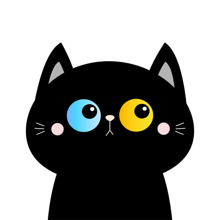 Black cat head face silhouette. Blue yellow eyes. Pink blush cheeks. Funny Kawaii animal. Baby card. Cute cartoon funny character. Pet collection. Flat design. White background. Isolated. Vector