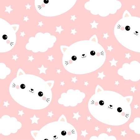 White cat face. Seamless Pattern. Cloud star in the sky. Cute cartoon kawaii funny smiling baby character. Wrapping paper, textile template. Nursery decoration. Pink background. Flat design Vector  イラスト・ベクター素材