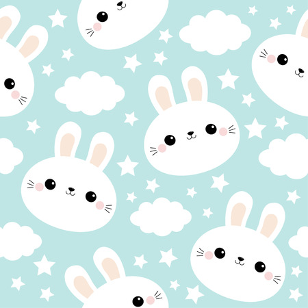 Seamless Pattern. White rabbit bunny face. Cloud in the sky. Cute cartoon kawaii funny smiling baby character. Wrapping paper, textile template. Nursery decoration. Blue background. Flat design Vector