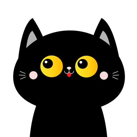Black cat face head silhouette with yellow eyes. Pink blush cheeks. Funny Kawaii animal. Cute cartoon funny character. Baby card. Pet collection. Flat design. White background. Isolated. Vector