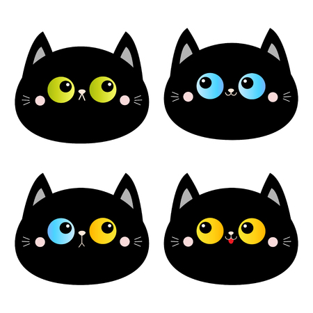 Black cat head face set. Blue yellow green eyes. Pink blush cheeks. Funny Kawaii animal. Baby card. Cute cartoon funny character. Pet collection. Flat design. White background. Isolated. Vector
