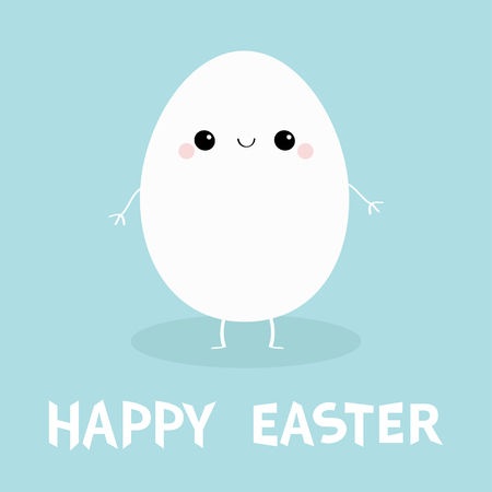 Happy Easter Egg Smiling face. Cute cartoon kawaii funny character with hands, legs, eyes. Love Greeting card. Flat design. Blue pastel color background. Vector illustration