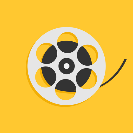 Film movie reel. I love cinema icon. Flat design style. Yellow background. Isolated. Vector illustration