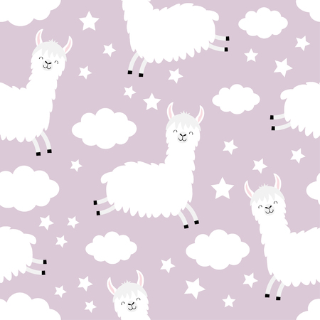 Seamless Pattern. Cloud star in the sky. Alpaca llama jumping. Cute cartoon kawaii funny smiling baby character Wrapping paper, textile template Nursery decoration Violet background Flat design Vector