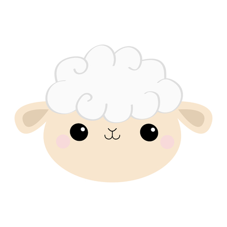 Sheep lamb face head round icon. Cloud shape. Cute cartoon kawaii funny smiling baby character. Nursery decoration. Sweet dreams. Flat design. White background. Isolated. Vector illustration