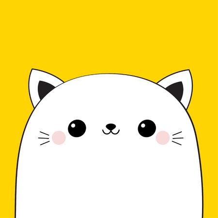 Cat head face icon. Cute cartoon kawaii funny character. Adopt me. Black line contour silhouette. Pet adoption. Kitty kitten animal. Flat design. Yellow background. Vector illustration Ilustracja