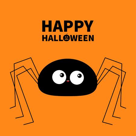 Feliz Halloween. Silueta de araña negra. Patas largas. Insecto divertido. Ojos grandes. Personaje de dibujos animados lindo bebé kawaii. Diseño de material plano. Calabaza. Fondo naranja. Aislado. Ilustración vectorial