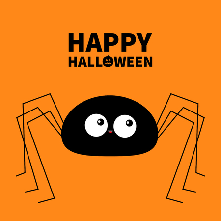 Happy Halloween. Black spider silhouette. Long paws. Funny insect. Big eyes. Cute cartoon kawaii baby character. Flat material design. Pumpkin. Orange background. Isolated. Vector illustration