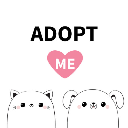 Cat dog head face icon set. Adopt me. Cute cartoon kawaii funny character. Line contour silhouette. Pet adoption. Pink heart. Kitty puppy animal. Flat design. White background. Vector illustration Ilustracja