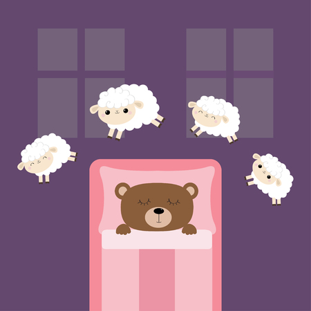 Sleeping bear. Jumping sheeps. Cant sleep going to bed concept. Counting sheep. Cute cartoon kawaii baby animal set. Blanket pillow room two windows. Flat design. Violet background. Isolated. Vector Vectores